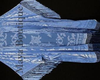 Serenity Blue Fringe Jacket Kimono Duster Silk Burnout Velvet Maya Matazaro Plus