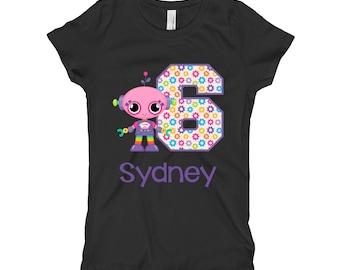 Robot Birthday Shirt - Purple Robot Birthday Shirt - 6th Birthday Shirt - Sixth Birthday Shirt 6 - Girls Birthday
