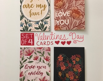 Valentines greeting cards, set of 4, love stationery