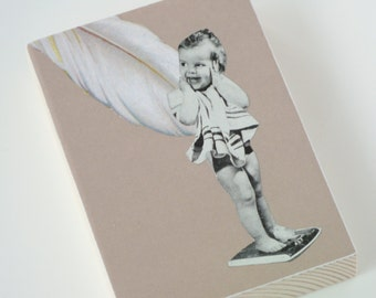 Funny Original Collage Art, Baby Art, Nursery Art, Toddler Art, Infant Art, Collage on Wood Block - Retro Child ACEO Neutral Colours