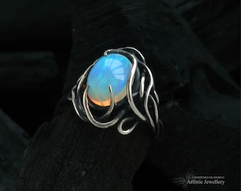"""silver ring, wire wrapped silver ring, wire wrapped ring with Ethiopian opal """"DISCO"""""""
