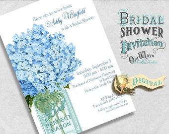 Blue Bridal Shower Invitation Printable - Mason Jar, Hydrangea Flowers - Blue Floral Rustic Bridal Shower Invites - Digital PDF or JPEG