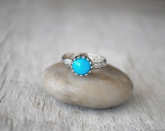 Sterling Silver Turquoise Ring -  American Turquoise Ring - Handcrafted Artisan Silver Turquoise