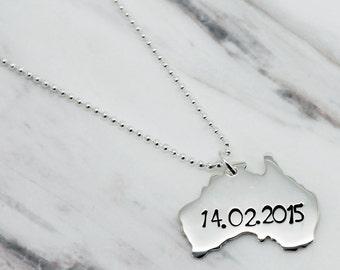 Personalised Australia Sterling Silver Necklace, Australia Necklace, Silver Australia Pendant, xmas, Australia Map, Personalised