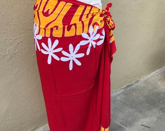 Red, gold and white tattoo tiare premium Tahitian pareo, full or half sized sarong, Polynesian dance costume