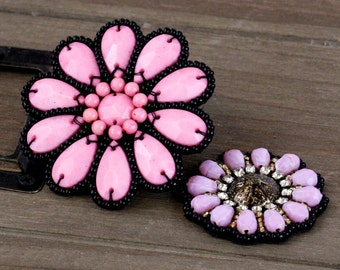 SALE CLEARANCE 30%  off : Rondelle Pink Taos Beaded Patch And Fabric Flowers embellishment, flower center