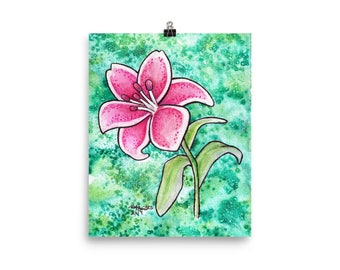 Pink Lily Galaxy Watercolor - Matte Print