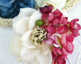 Creamy Ivory Rose Blossom Hair Flower, Fall Bridal Flower Hair Clip, Pinup Hair Clips, 1940s 1950s, Pinup, Shabby Chic Flowers
