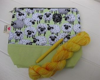 Small knitting project bag, sock knitting bag, crochet bag