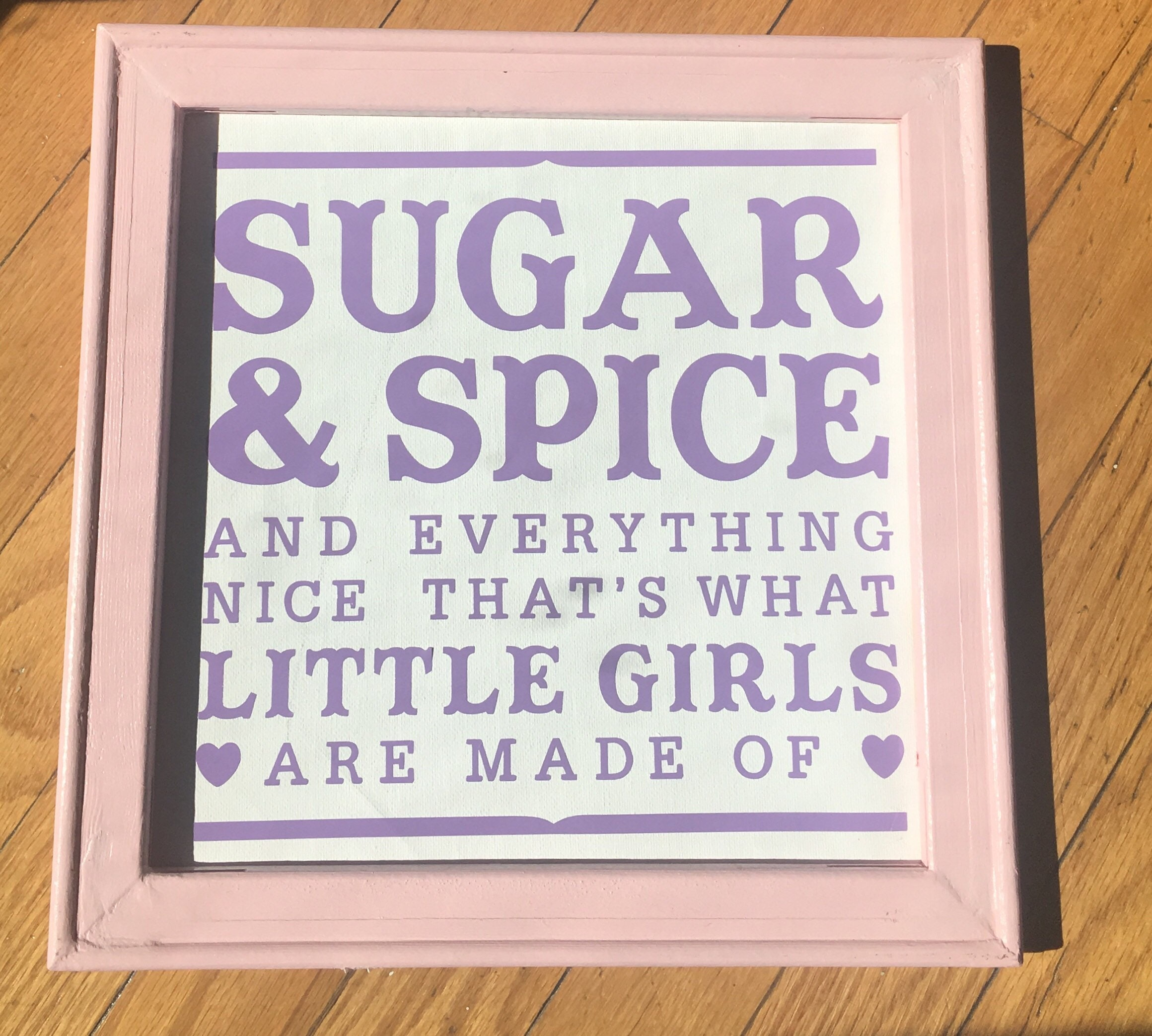 12x12 Baby girl sign for nursery. Pink Sugar and Spice and ...