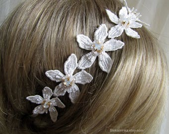Swarovski Flower Lace Headband Wedding Flower Headband Swarovski Headband Ivory Bridal Headband Ivory Bridal Accessory Bridal Hair Wrap