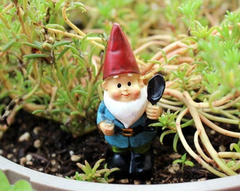 Small Garden gnome-Resin gnome-fairy garden decor-Terrarium supplies