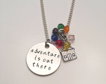 Adventure is Out There Disney Pixar Up Inspired Hand Stamped Charm Necklace