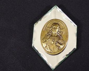 Mirror with jesus Christ vintage decorative brass medal Catholic religious wall mirror carved vintage France vintagefr