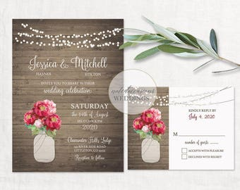 Mason Jar Wedding Invitation Templates Sunflower Wedding