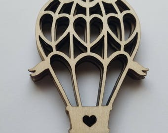 Set of 24 Wooden Hot Air Balloons with Heart Cut Outs ( Embellishments, Scrap Booking, Nursery Wall Decor )