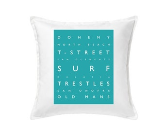 San Clemente Surf Pillow - Beach Decor  -  20 x 20 Typography Pillow, Beach Pillow, Coastal Decor, Surf, Removable Cover With Down Insert