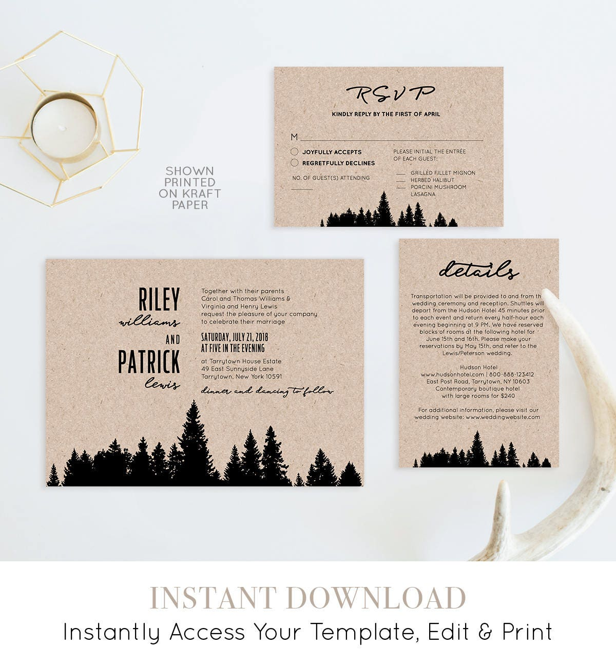 Printable Wedding Invitation Set, 100% Editable Template, Woodland ...