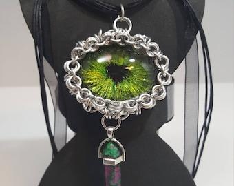 Green dragon eye pendant, dragon eye pendant, handcrafted, hand painted, OOAK, dragon eye with heart pupil, 40x30mm dragon eye pendant