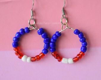 Football Inspired Blue Red and White Hoop Earrings (201752E)