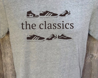 old school hip hop T-shirt classic sneakers vintage rap  (heather gray)