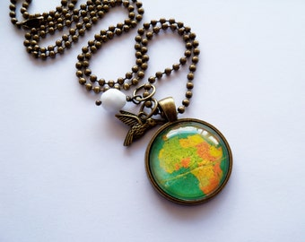 Globe Necklace -  Green Map Pendant Necklace - Africa - Adoption Jewelry - Travel Necklace - You Choose Bead and Charm - Customizable