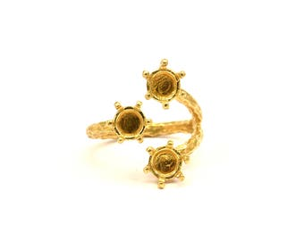Adjustable Ring Settings - 2 Raw Brass 6 Claw Ring Blanks - Pad Size 6mm N324