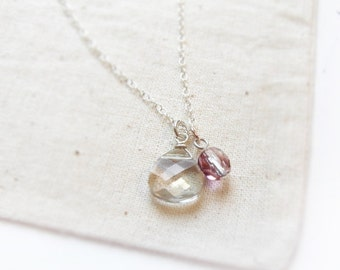 Bohemian (necklace) -  Small Swarovski Silver Shade pear drop briolette and tiny purple crystal