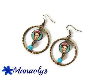 Frida Kahlo, hoop earrings, bronze, glass cabochons