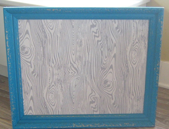 Turquoise Framed Bulletin Board Gray and White Vintage