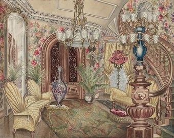 "Perkins Harnly : ""Entrance Hall"" (1935/1940) - Giclee Fine Art Print"
