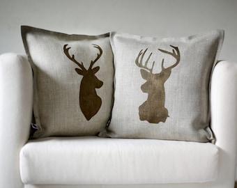 Deer head pillows set of 2 Reindeer antique bronze hand  print on natural linen pillow covers custom size 3011