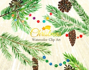 Christmas tree Watercolor clip art hand drawn. Winter watercolor,  tender green branches, pine cone, post cards, wreath, arrangements.