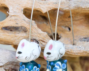 White Rabbits on Square Flower Bead V Wire Earrings - Rabbit Earrings, Easter Bunny, Customizable