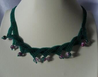 Layered and Twisted Green and Pink Herringbone Stitched Choker
