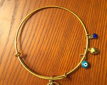 Adjustable Anchor Charm Bangle