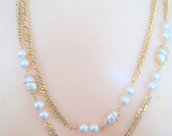Sarah Coventry Faux Pearl Long Necklace
