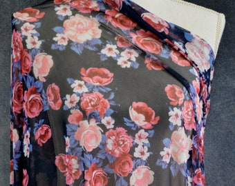 Stretch Mesh, Maryport Peony Bouquet On Navy – 1/2 Meter