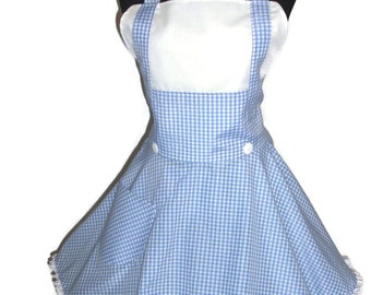 PLUS SIZE Costume Apron Cosplay Apron, Blue and White Gingham Check Circular Skirt