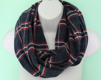 navy and red plaid infinity scarf, flannel Infinity Scarf -Circle Scarf -plaid Loop Scarf, Eternity Scarf, Fall Scarf, Winter Scarf