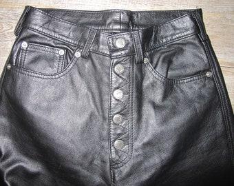Black Leather Button Front Biker Jeans Sujari Australian Made