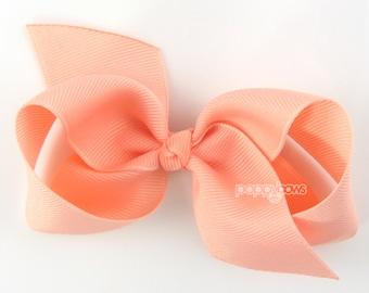 Girls Hair Bow - peach hair bow - Loopy Bows - large hair bows - big hair bows - bows for girls - toddler hair bows - 3.5 inch bows