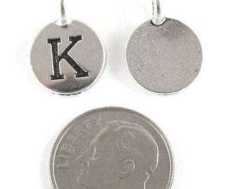 """TierraCast Pewter Initial Charms-Silver Round Letter """"K"""" 12x16mm (2)"""