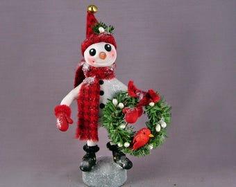 Snowman with a Christmas Wreath Clay Figurine Folk Art