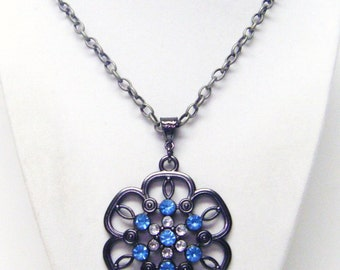 Antique Silver Plated w/Blue & Crystal Rhinestones Pendant Necklace