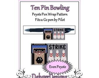 Peyote Beading Pattern (Pen Wrap/Cover)-Ten Pin Bowling