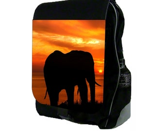 Elephant Sunset Silhouette - Large Black School Backpack
