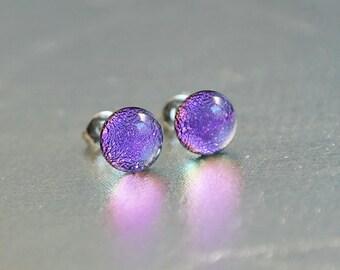 Purple rose glass stud earrings - glass post earrings - tiny stud earrings - surgical steel stud earrings - hypoallergenic earrings