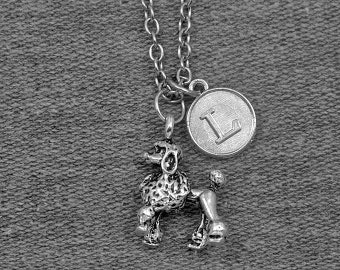 Silver Poodle Necklace -Pet Lovers Jewelry -Dog Necklace -Initial Charm Necklace -Your Choice of A to Z