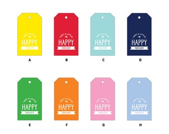 "24 ""Happy"" Gift Tags with String, 2x3.5"